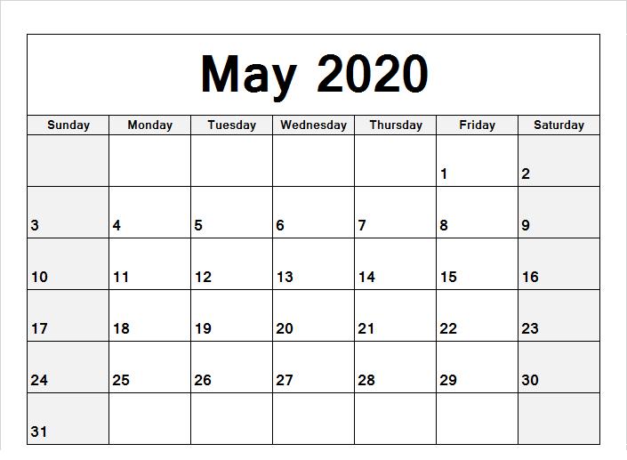 2020 May Calendar Wallpaper