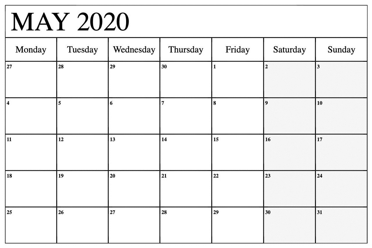 2020 May Monthly Calendar