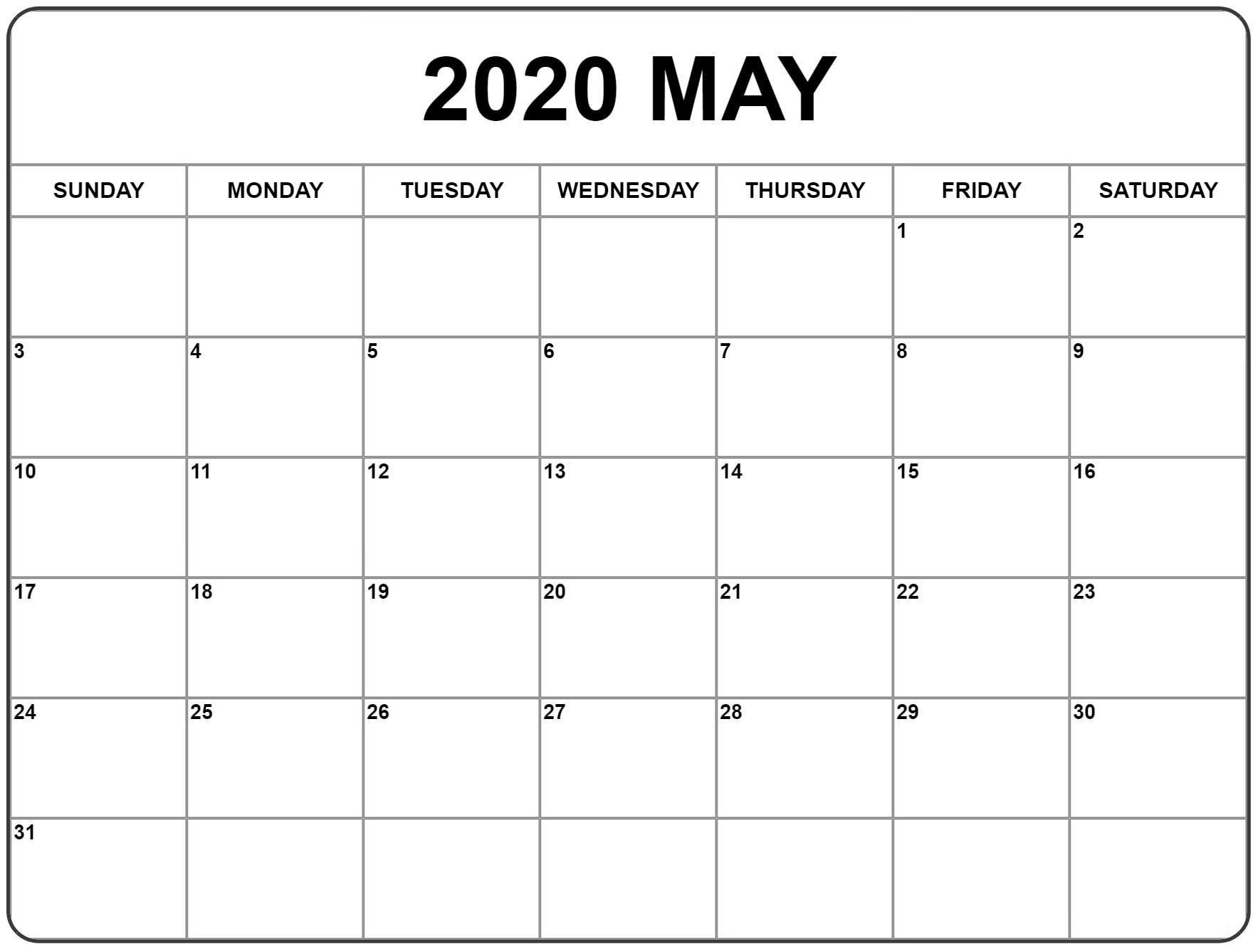 2020 May Template Calendar