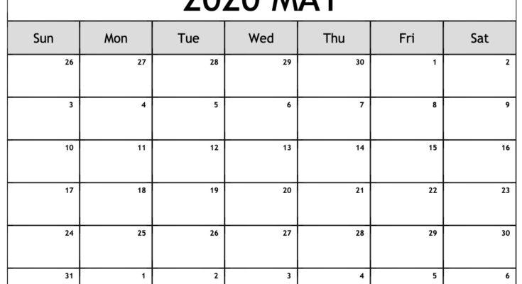 Blank May 2020 Calendar