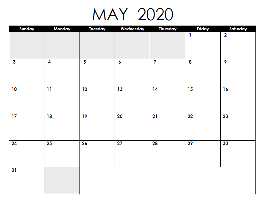 Blank May 2020 Calendar PDF