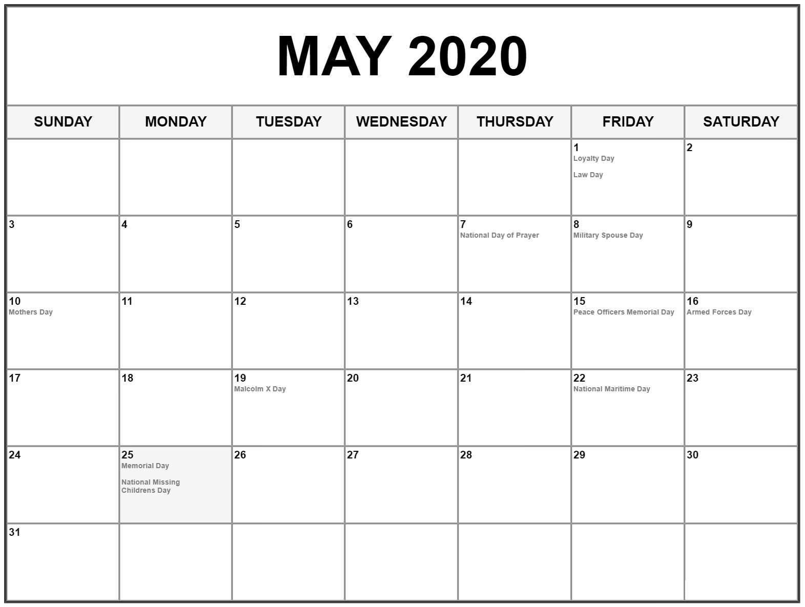 Blank May 2020 Calendar With Holidays