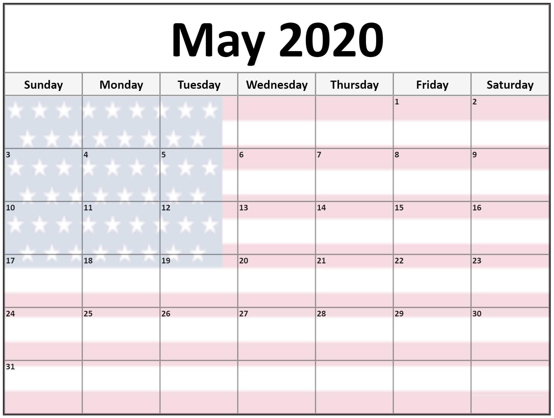 Blank May 2020 Cute Calendar