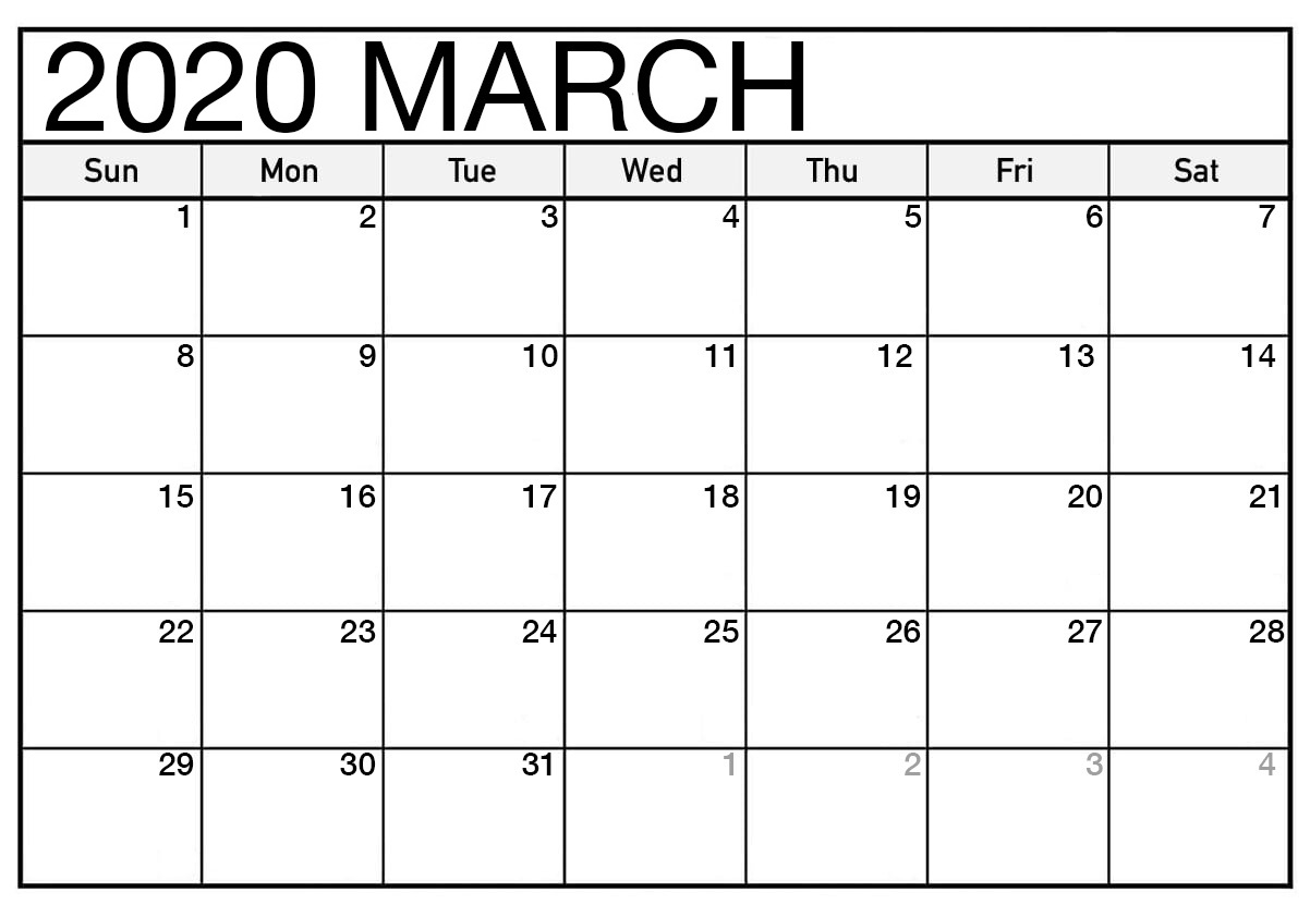 Calendar 2020 March US