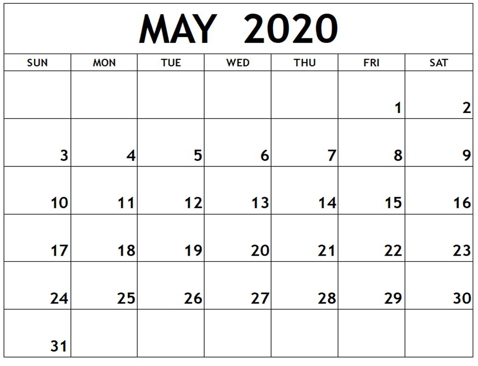 Calendar 2020 May PDF