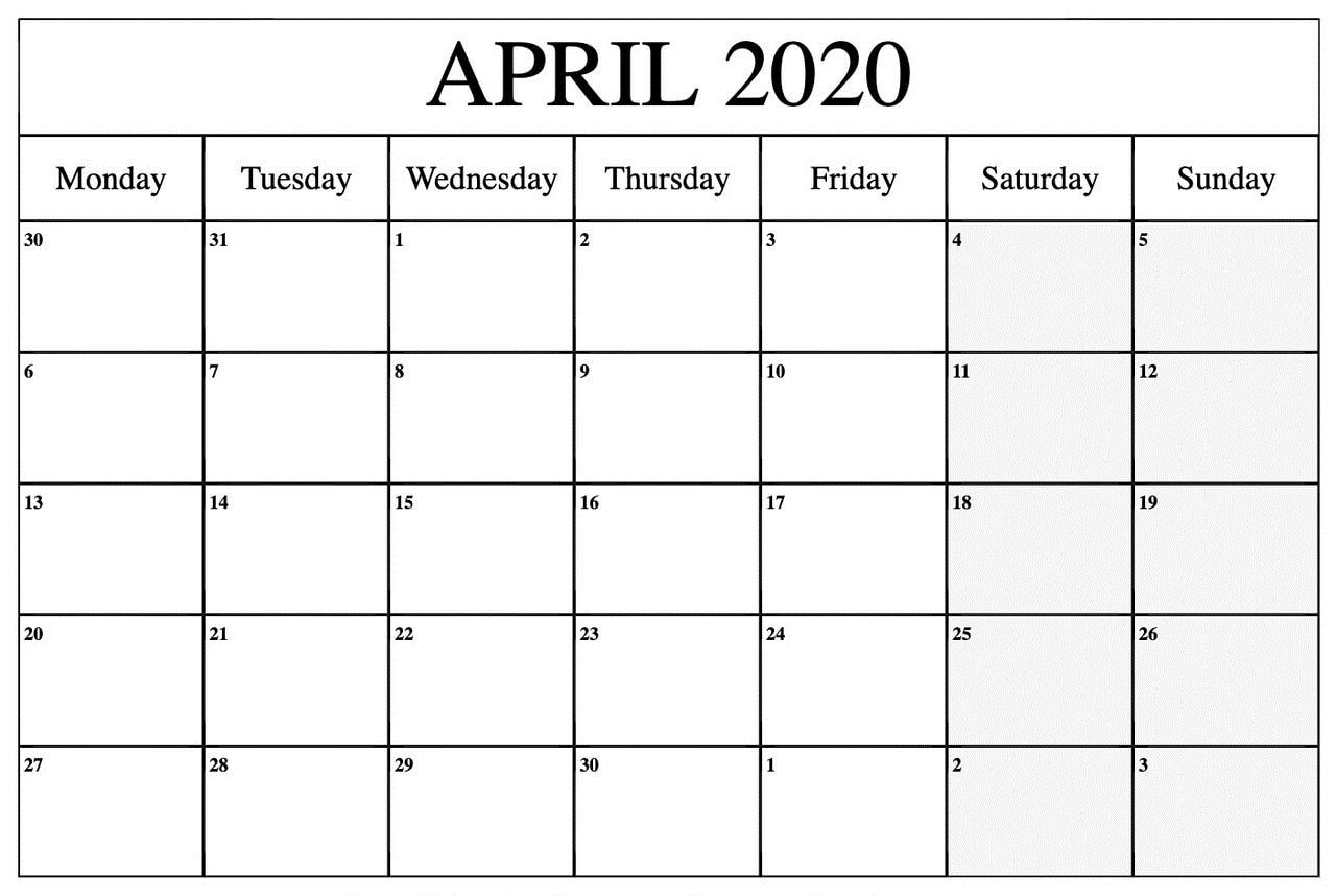 Calendar April 2020