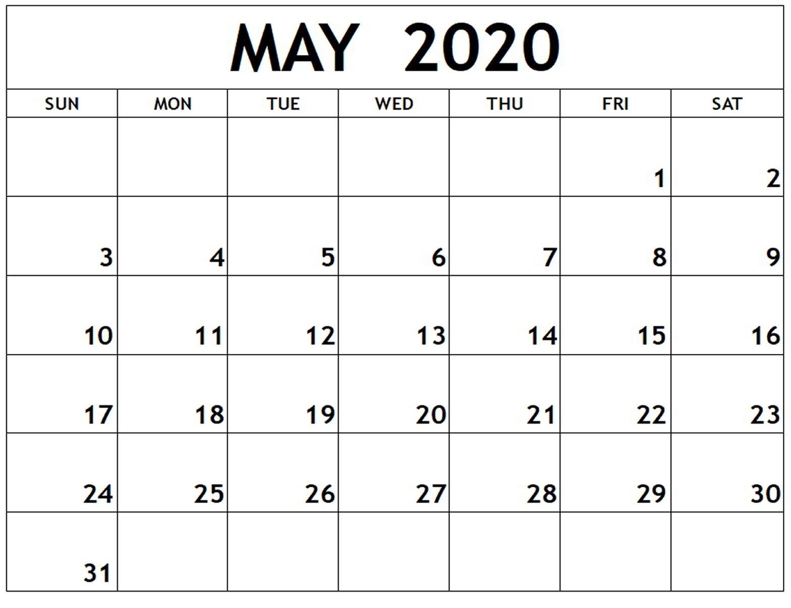 Calendar For May 2020 Holiday