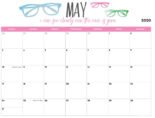 Calendar For May 2020 Template