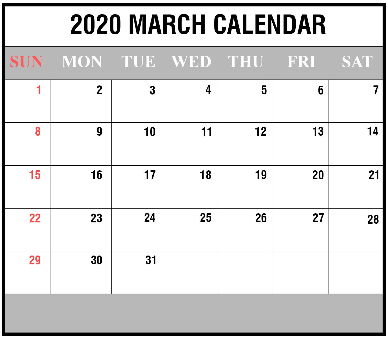 Calendar March 2020 Calendar Excel