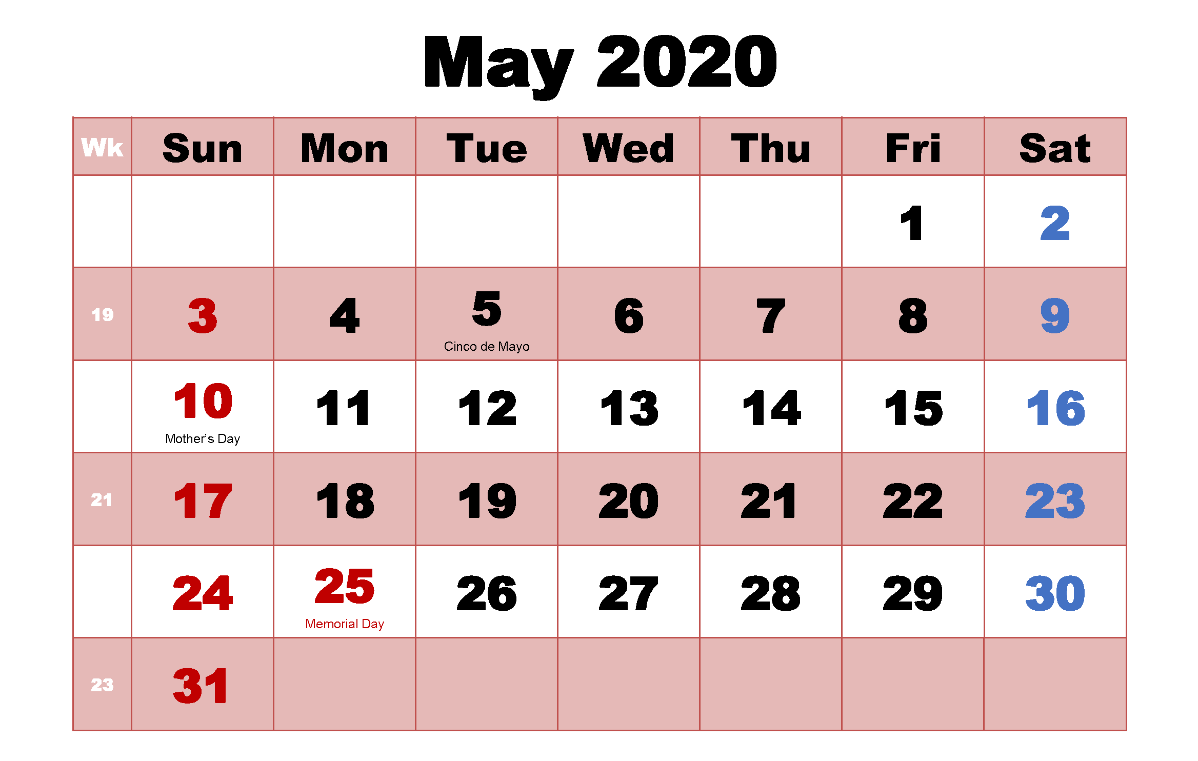 Cute May 2020 Calendar With Holidays