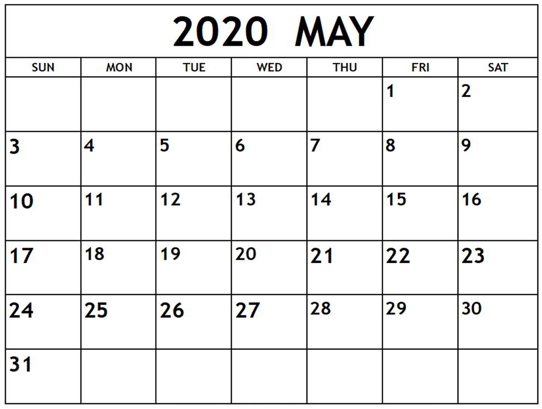 Download May 2020 Calendar Template