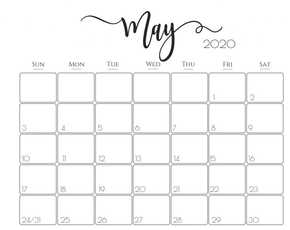 Editable 2020 May Calendar