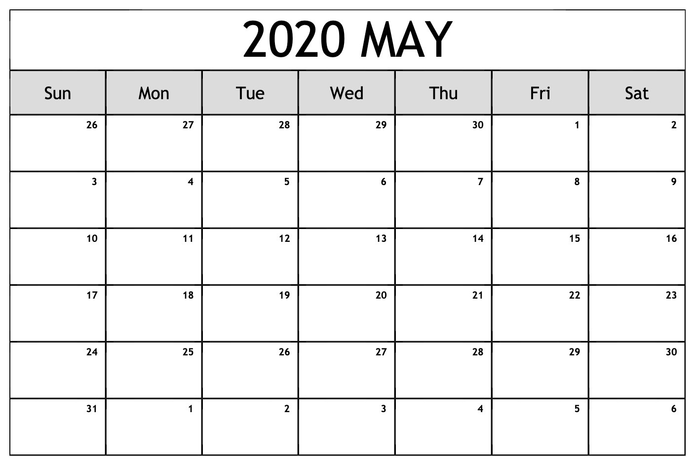 Editable Calendar May 2020