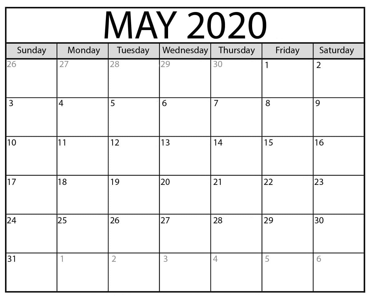 Editable May 2020 Calendar Word