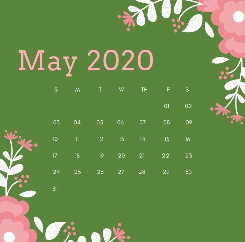 Editable May 2020 Cute Calendar