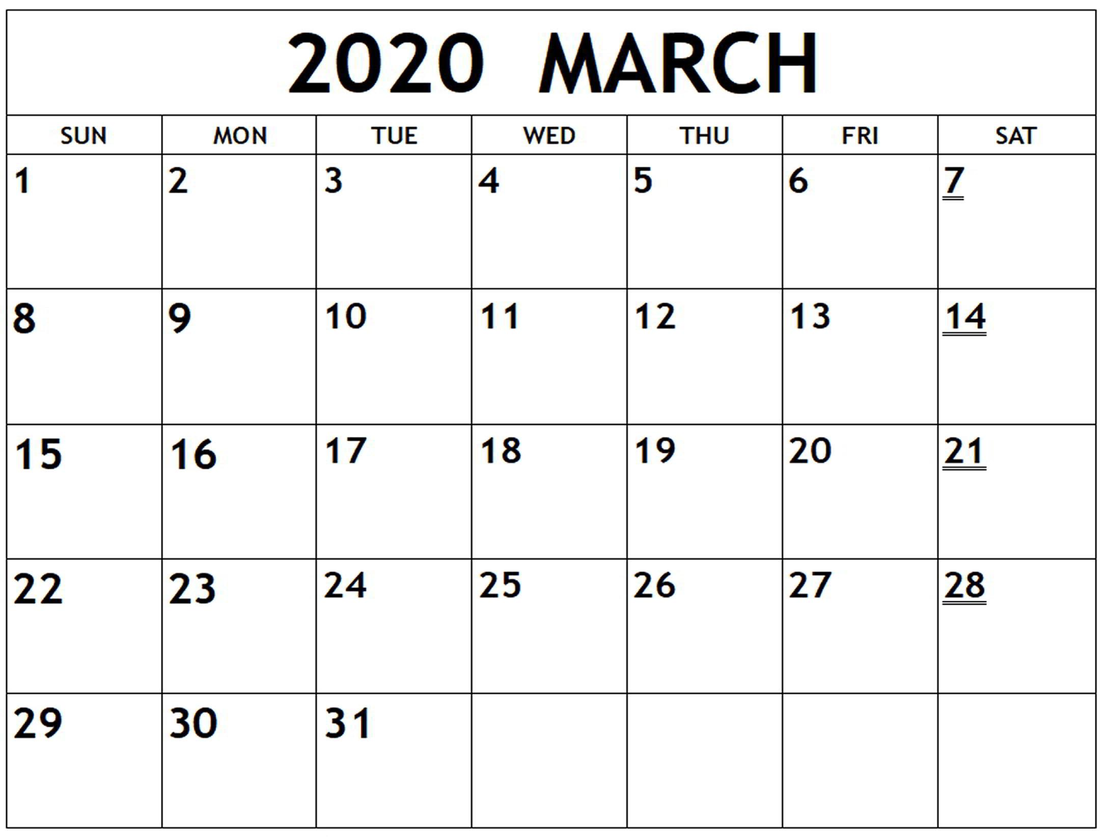 Excel March 2020 Calendar (2)