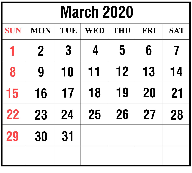 Excel March 2020 Calendar