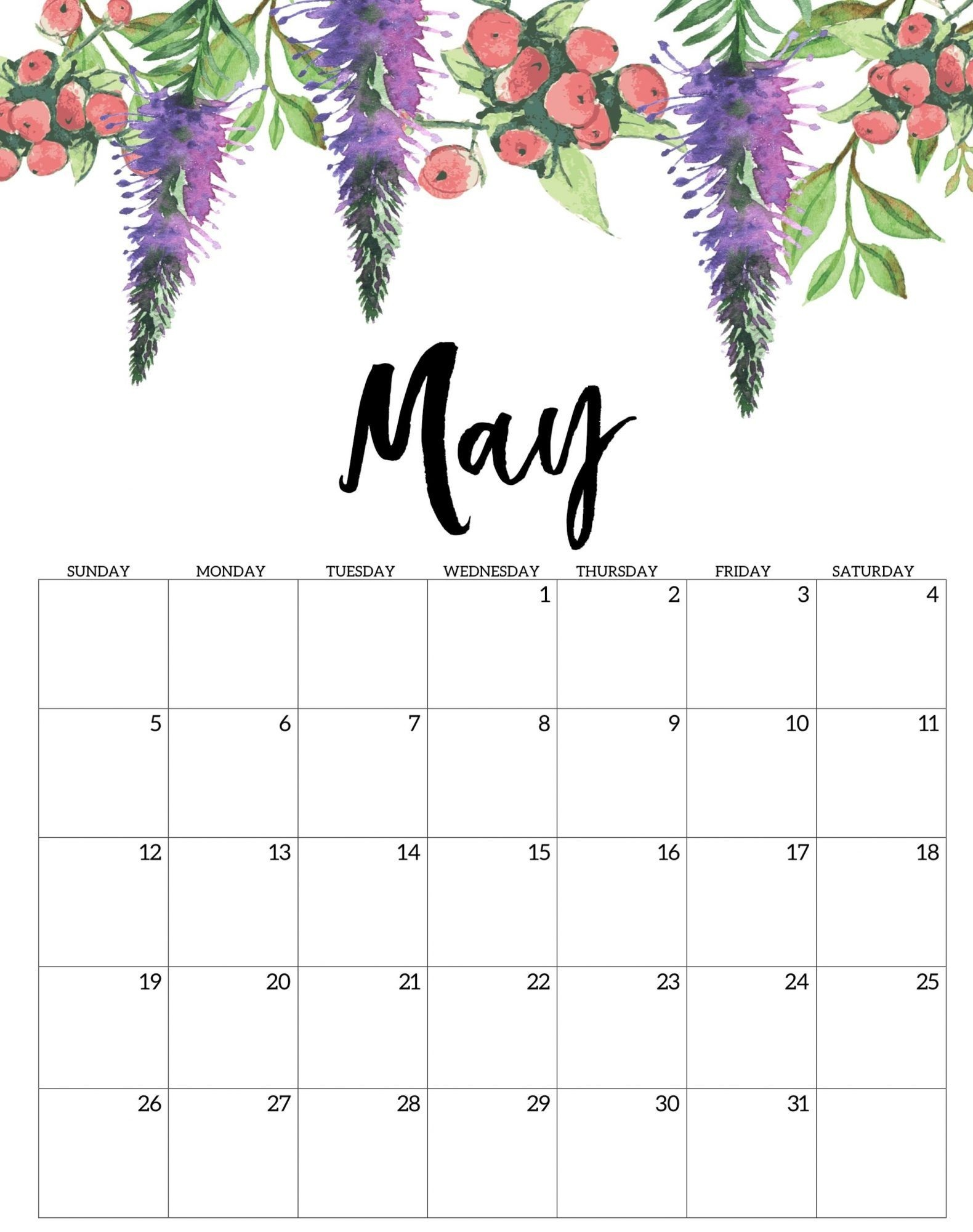 Free Calendar May 2020 Printable