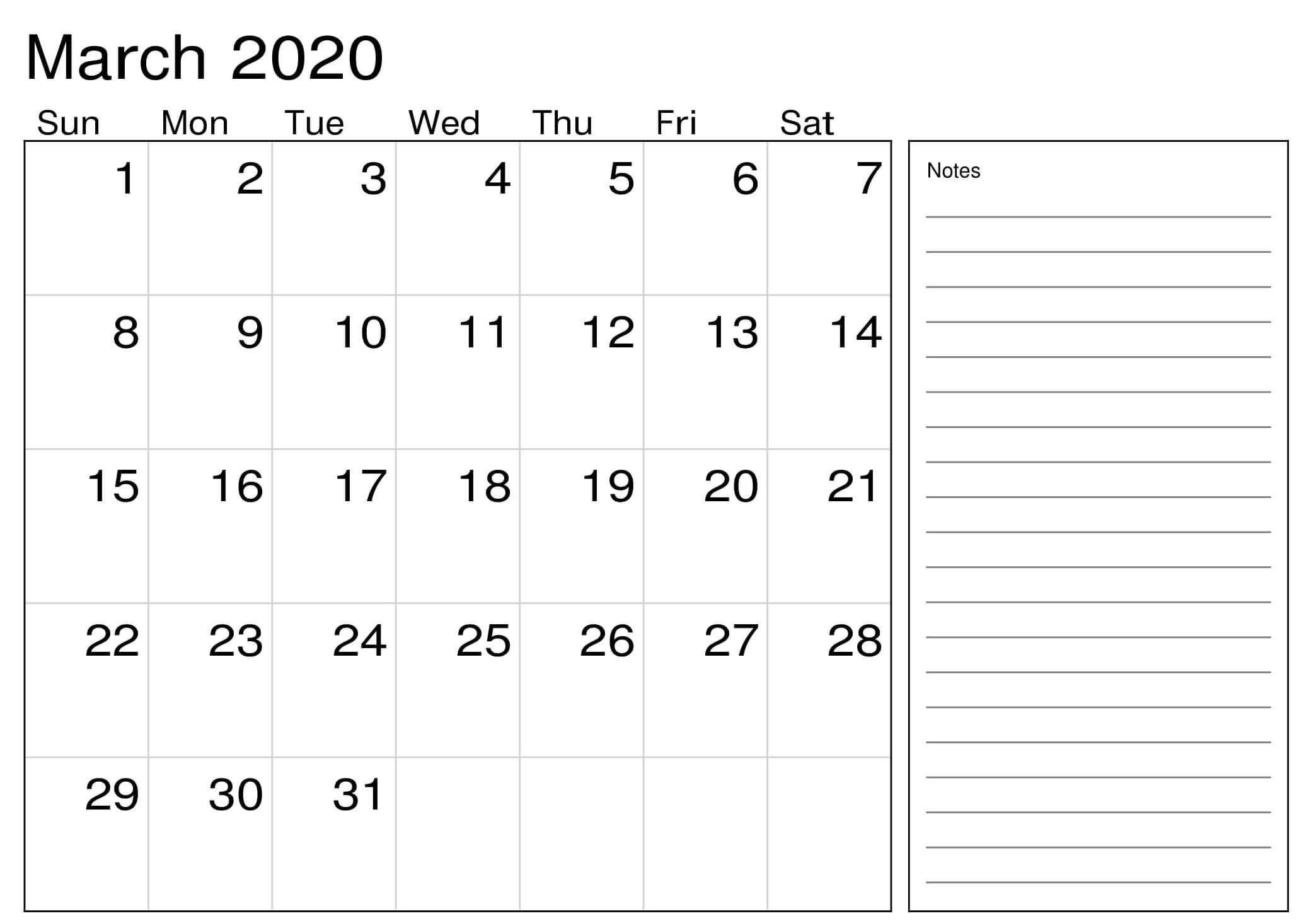 Free March 2020 Calendar Excel