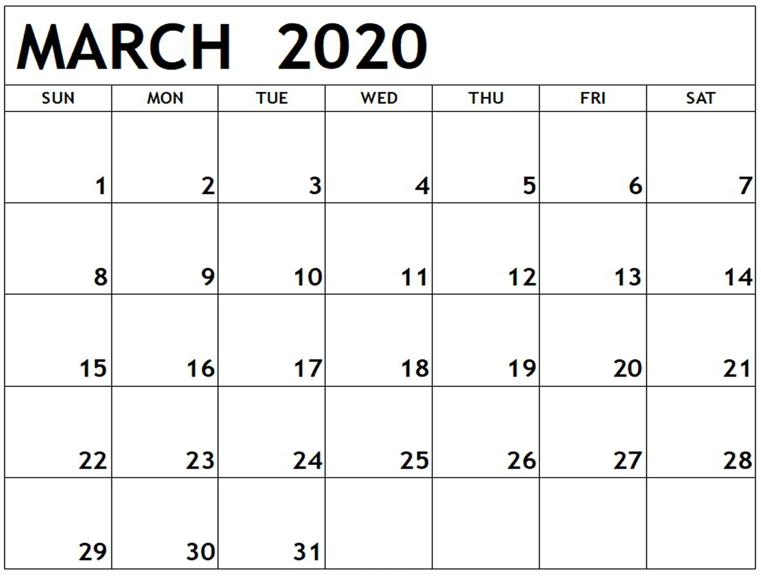 Free March 2020 Calendar US