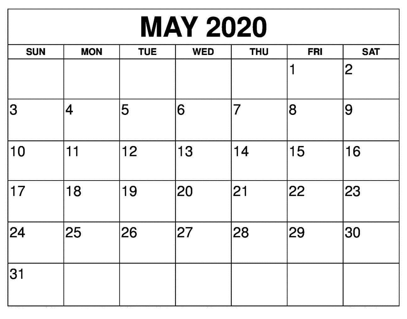 Free May 2020 Calendar Wallpaper