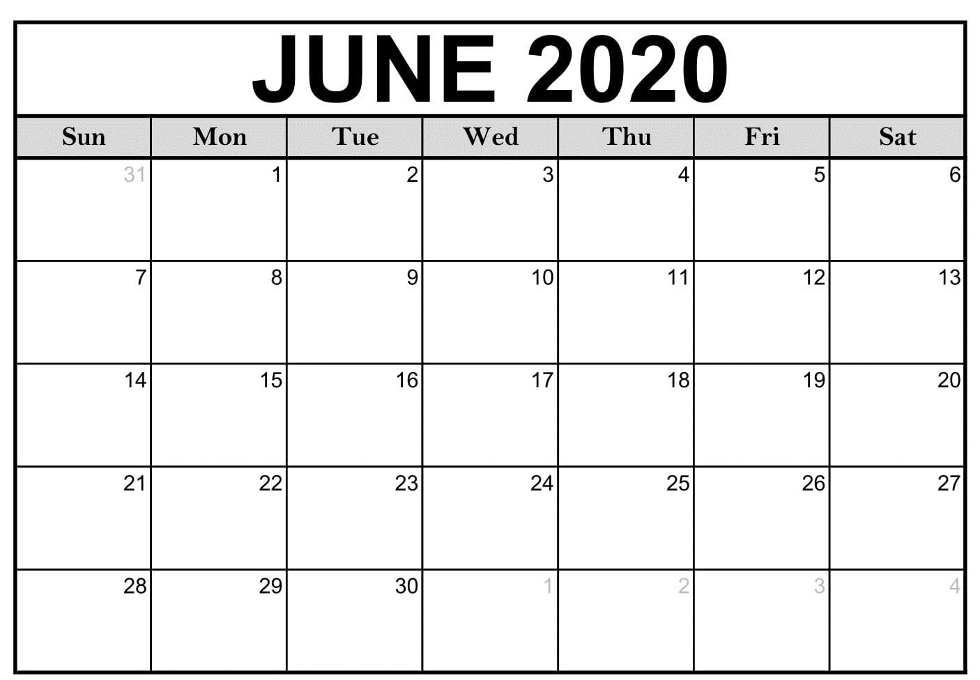 June 2020 Calendar Printable For Kids