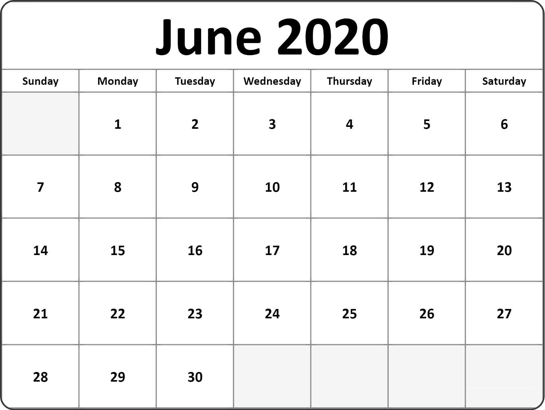 June 2020 Calendar PrintableJune 2020 Calendar Printable