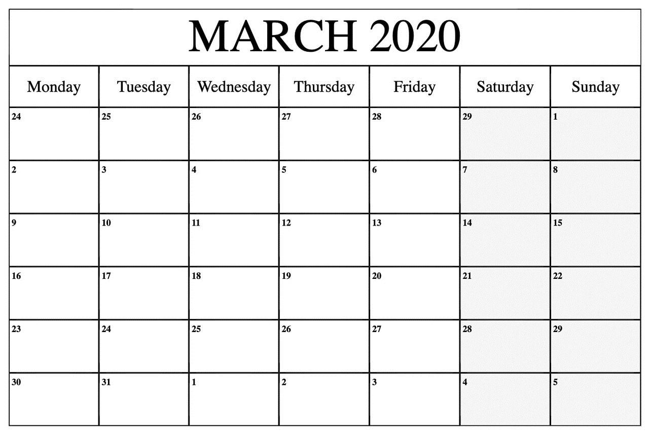 March 2020 Calendar US