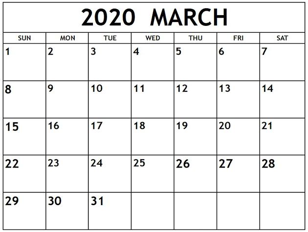 March Calendar 2020 Excel