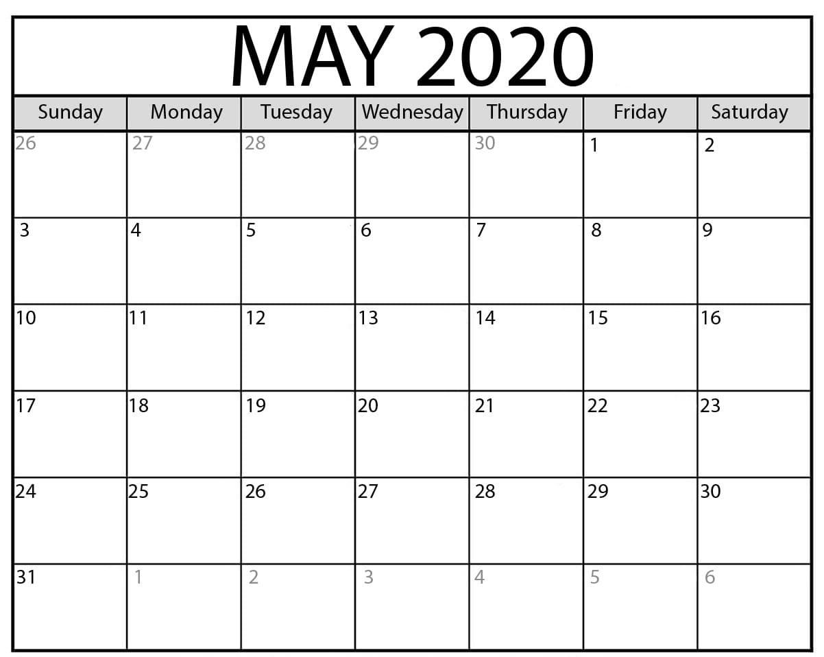 May 2020 Calendar Holidays