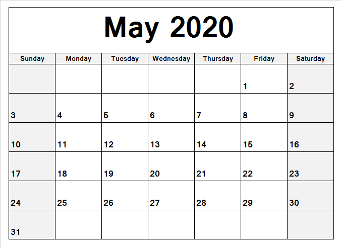 May 2020 Calendar Holidays
