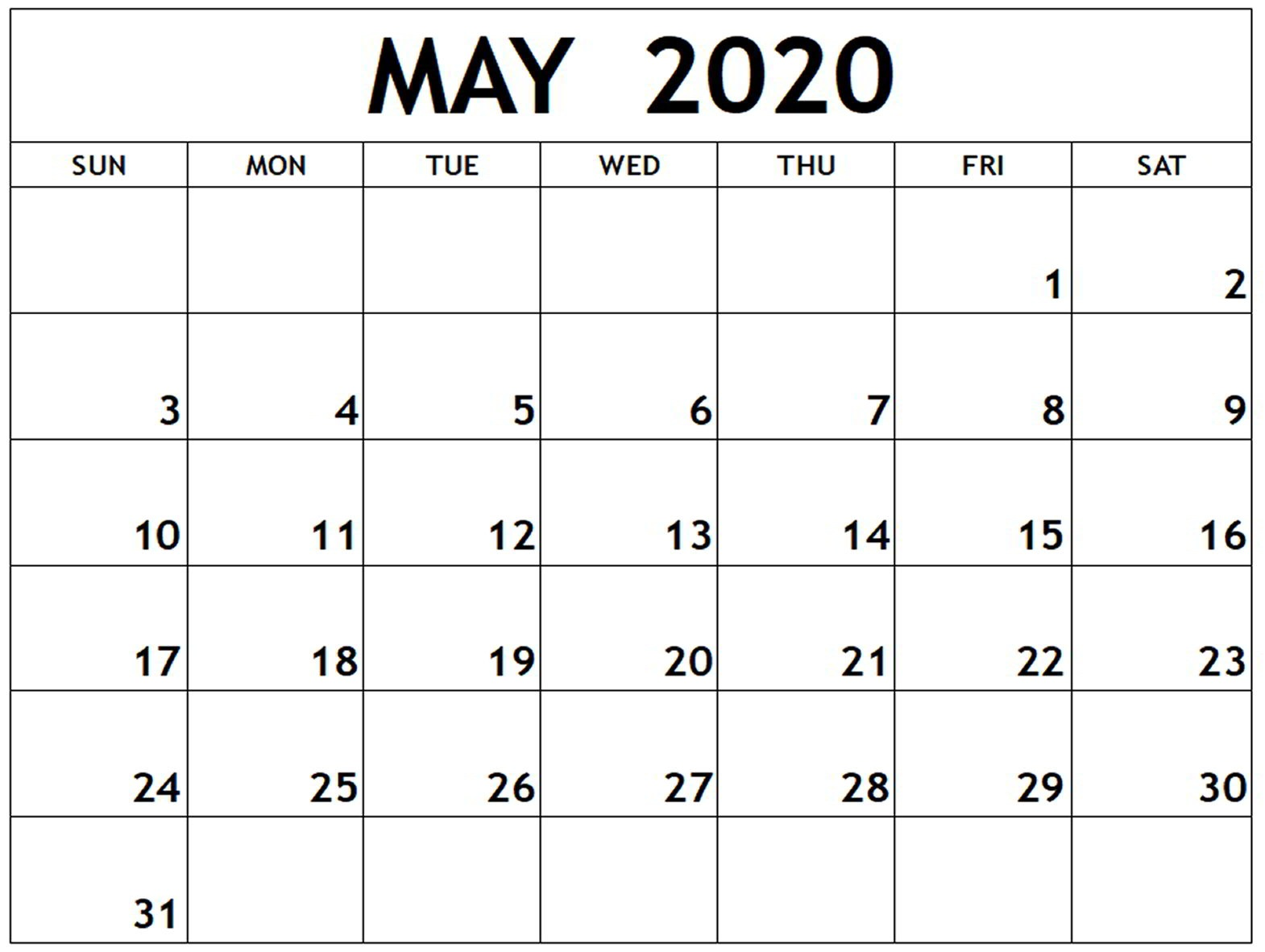 May 2020 Calendar Template For Kids