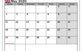 May 2020 Calendar With Holidays