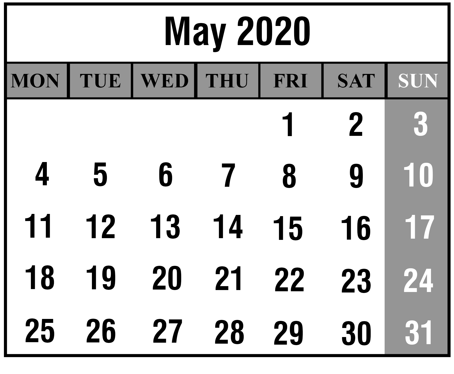 May 2020 Calendar With Holidays Layout