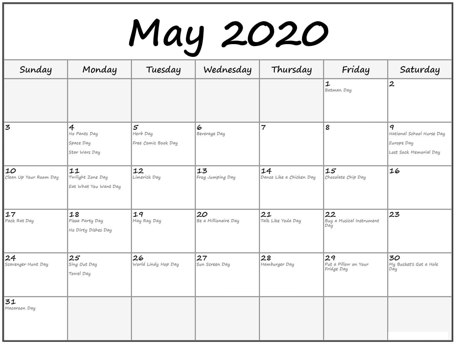 May 2020 Calendar With Holidays Sheet