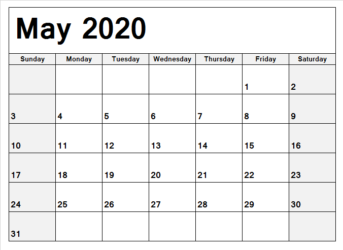 May 2020 Monthly Calendar For Kids