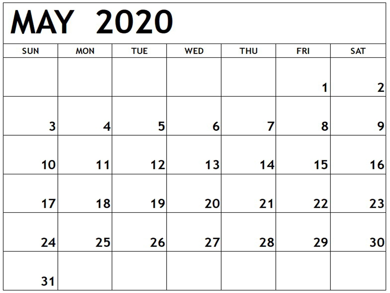 May 2020 Monthly Calendar Free