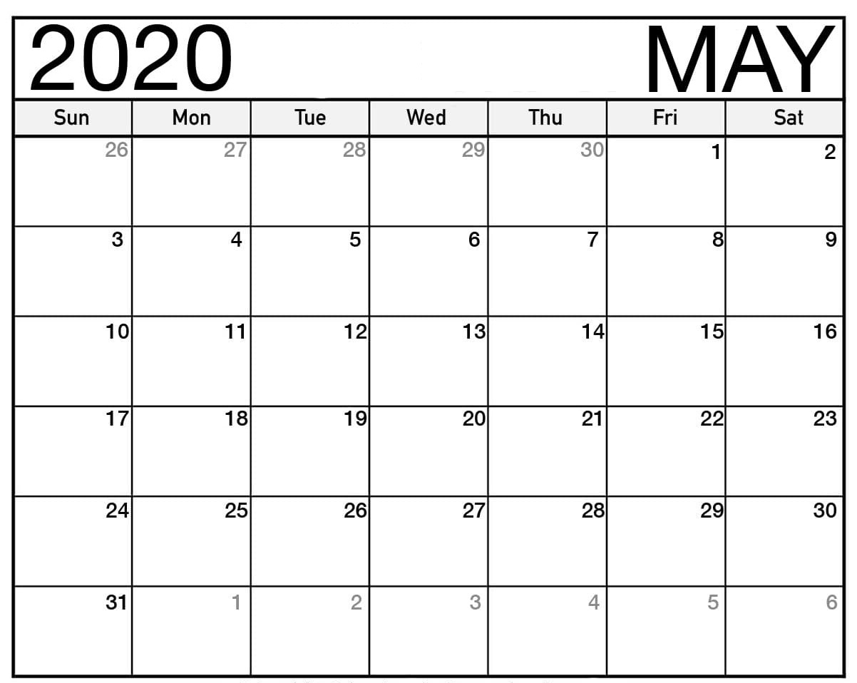 May 2020 Monthly Calendar PDF