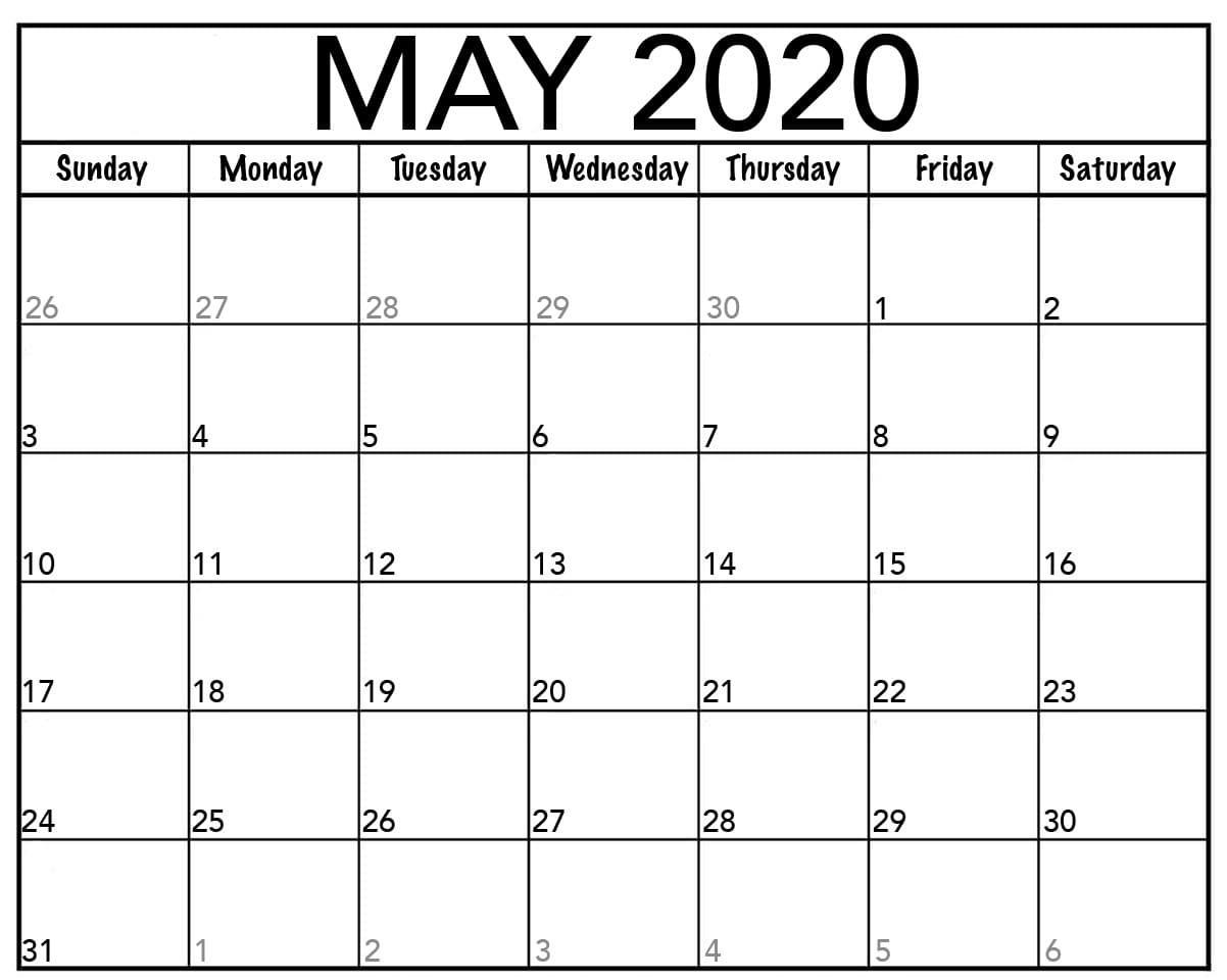 May 2020 Template Calendar