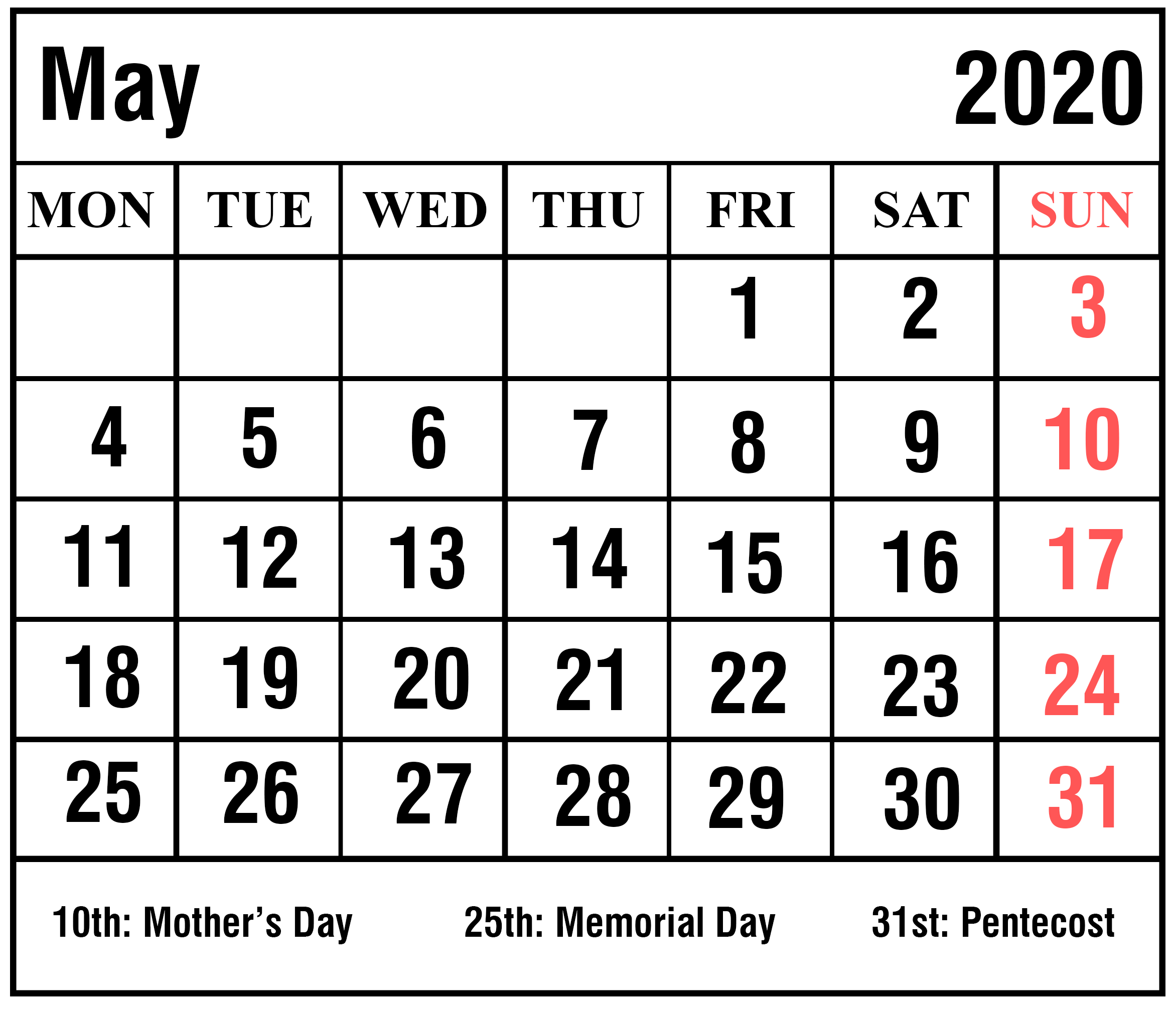 May Calendar 2020 Monthly