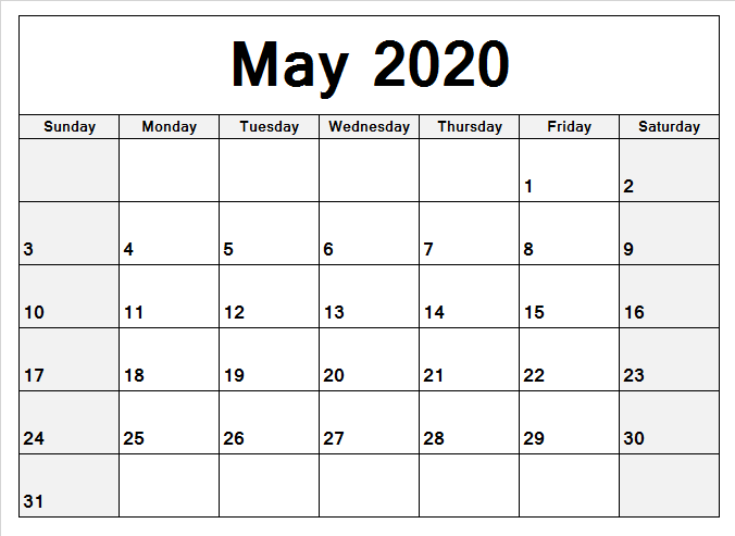 May Calendar 2020 Template