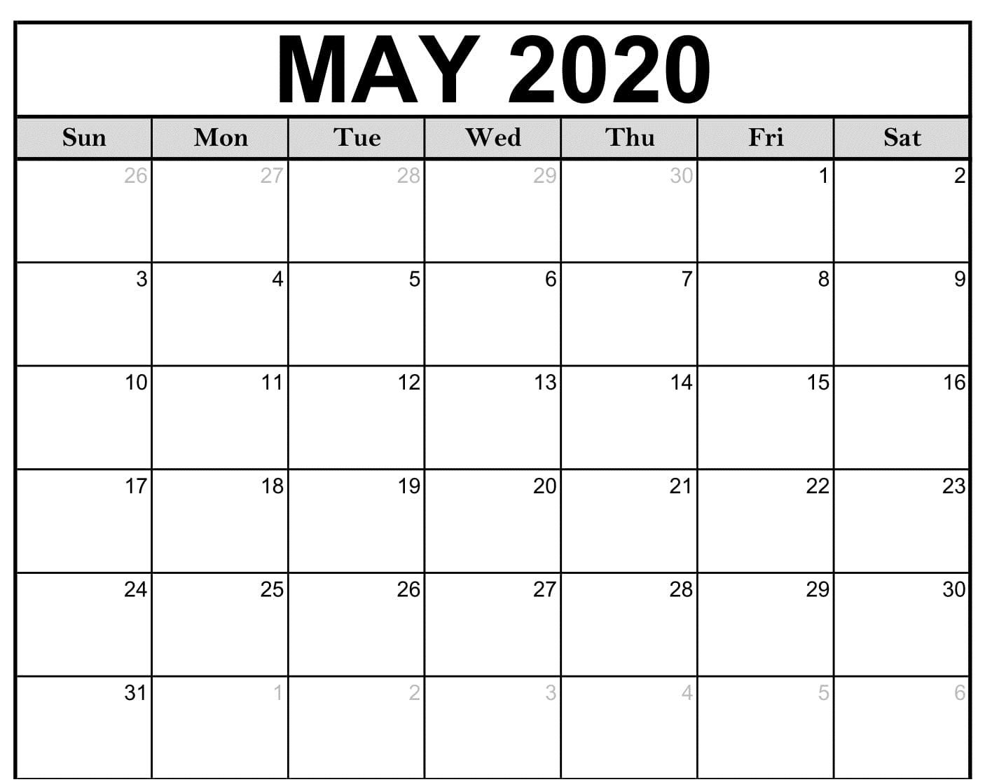 PDF May 2020 Calendar