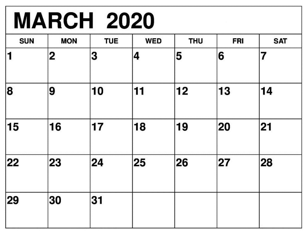 Planner March 2020 Calendar US