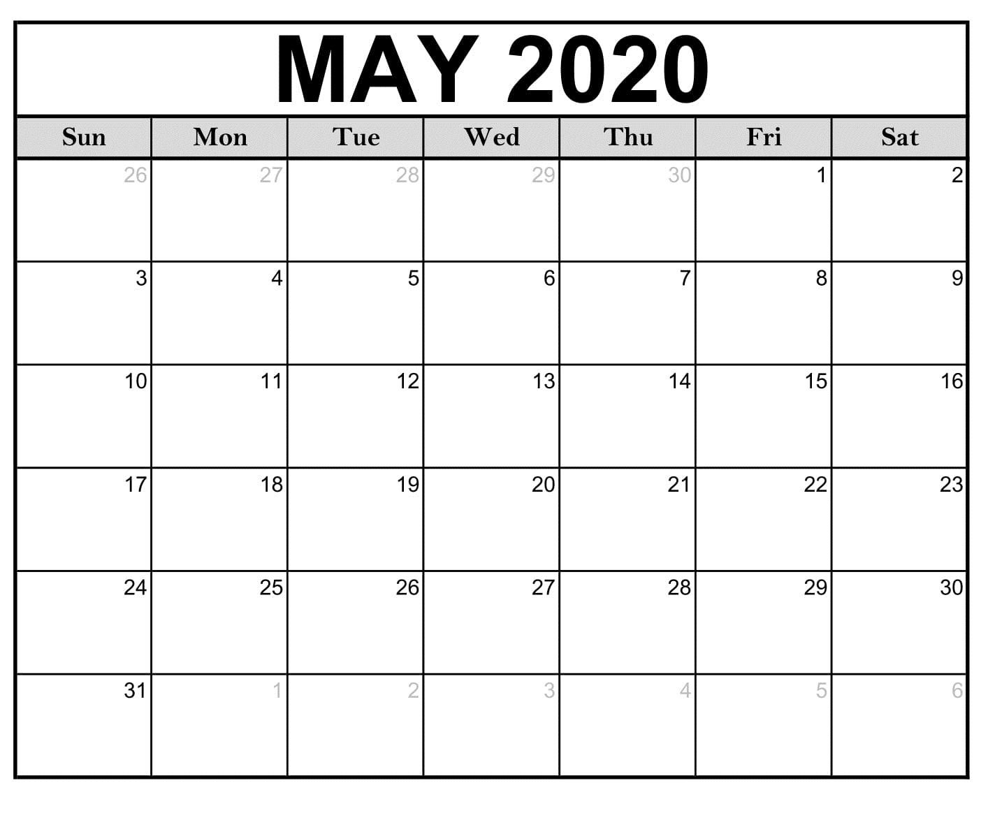 Printable Calendar May 2020 Free