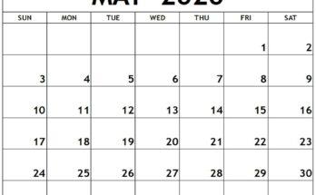 Printable Calendar May 2020 Print