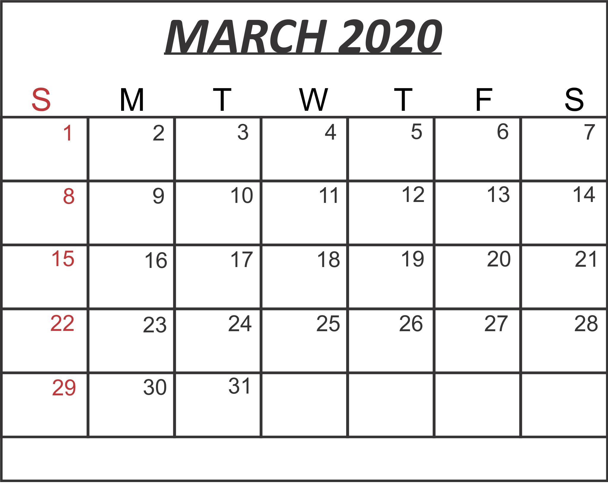 Printable March 2020 Calendar Excel