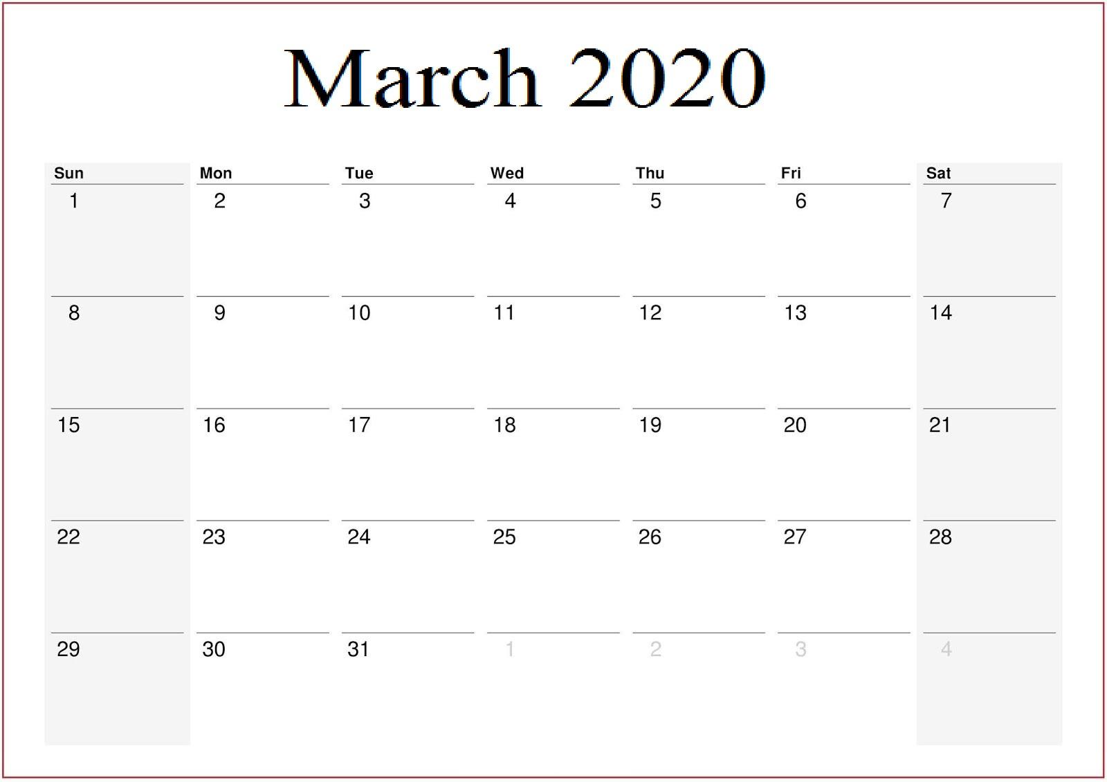 Printable March 2020 Calendar US