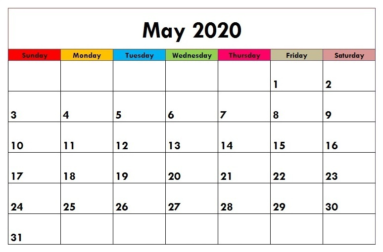 Printable May 2020 Calendar Wallpaper