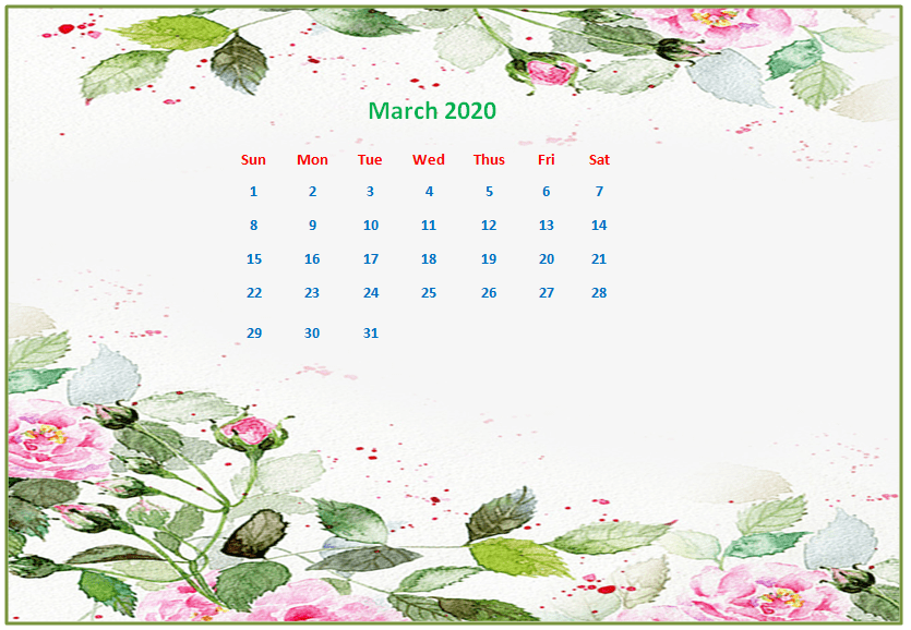 US March 2020 Calendar