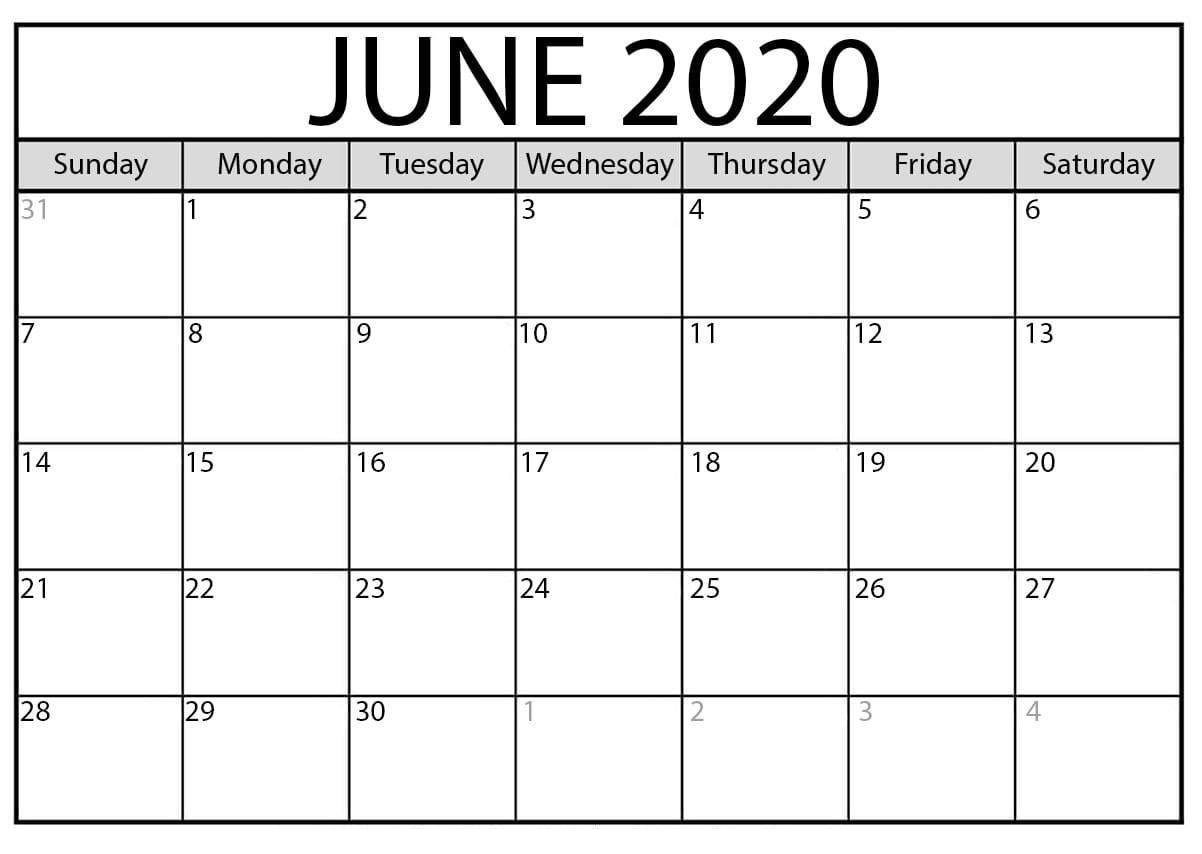 Wallpaper June 2020 Calendar Printable